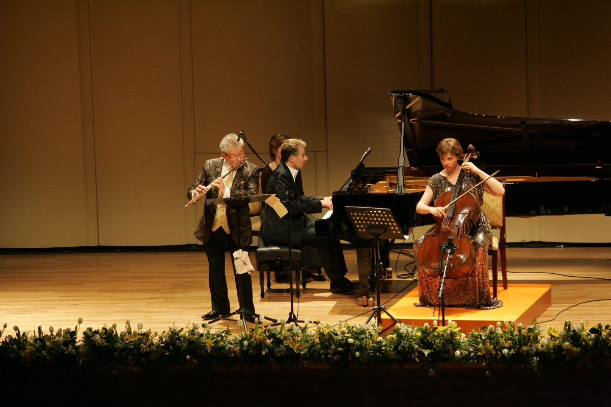 Nina Kotova with Sir James Galway and Jean-Yves Thibaudet